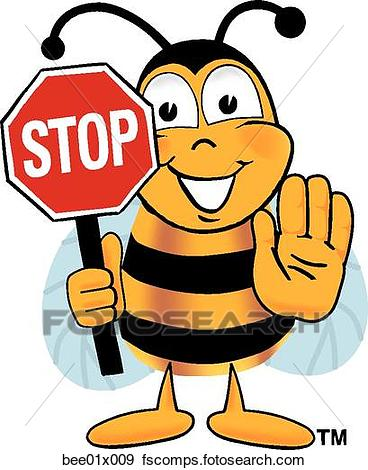 368x470 Clip Art Of Bee Holding Stop Sign Bee01x009