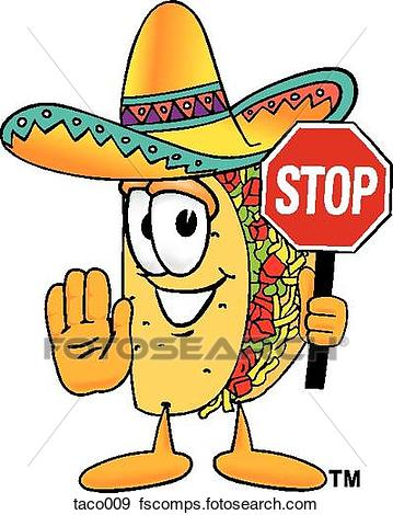 359x470 Clip Art Of Taco Holding Stop Sign Taco009