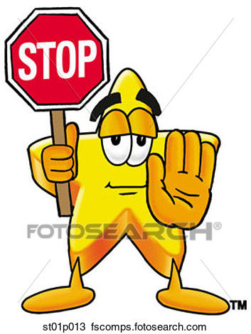 353x470 Clipart Of Star With Stop Sign St01p013