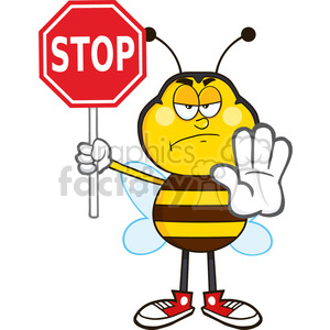 300x300 Royalty Free 8379 Royalty Free Rf Clipart Illustration Angry Bee