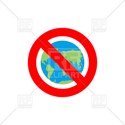 400x400 Stop Sign With Earth, Red Forbidden Sign Royalty Free Vector Clip