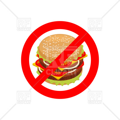 400x400 Stop Sign With Hamburger, Forbidden Fast Food Royalty Free Vector