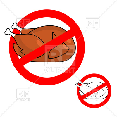 400x400 Stop Sign With Roasted Chicken, Prohibited Fried Food Royalty Free