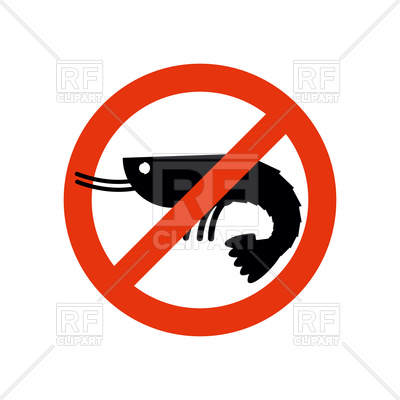 400x400 Stop Sign With Silhouette Of Shrimp, Ban Prawn Royalty Free Vector