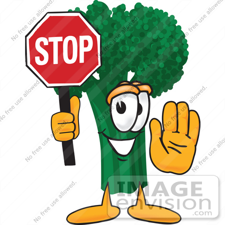 450x450 Clip Art Graphic Of A Broccoli Mascot Character Holding A Stop