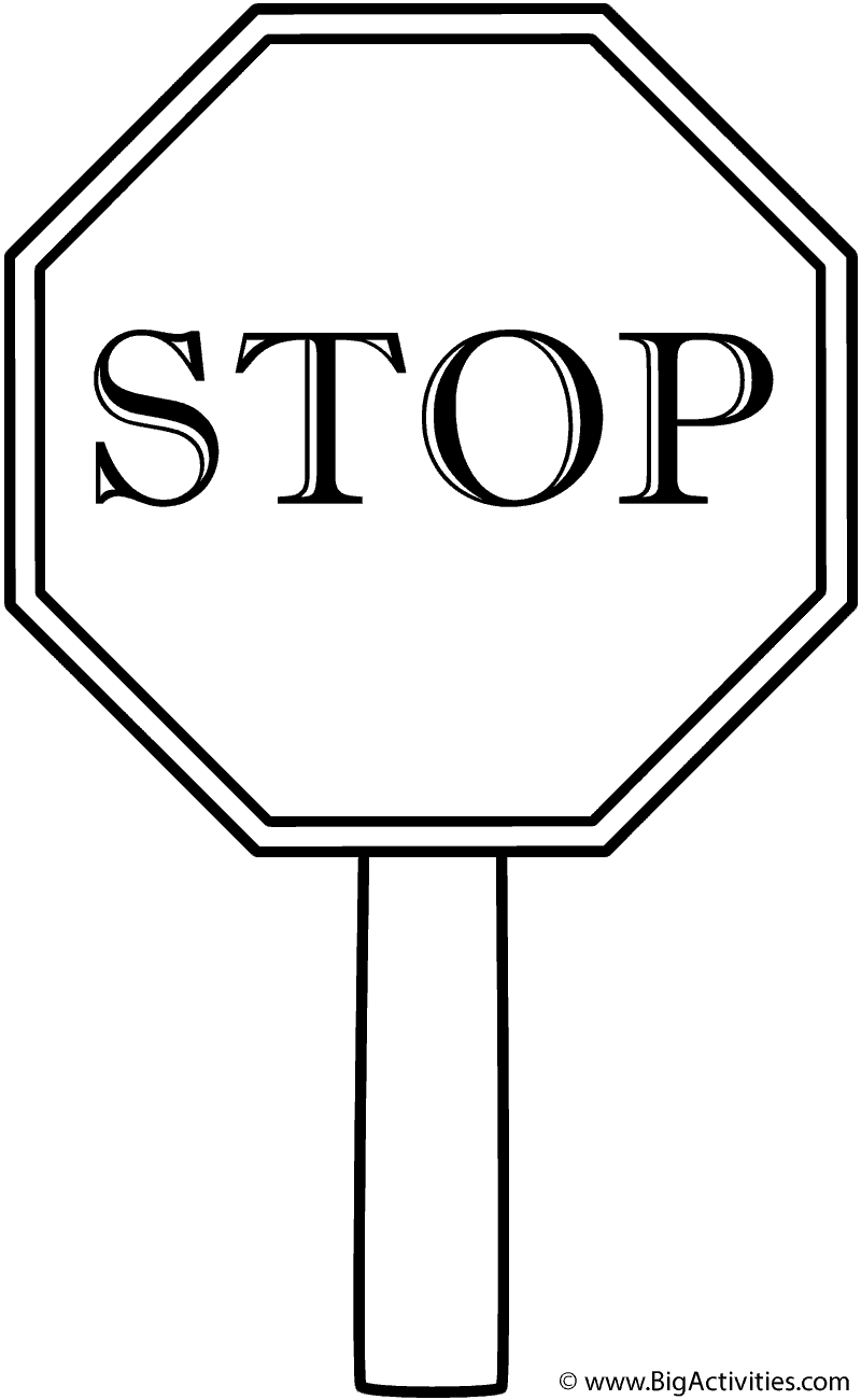 800x1300 Stop Sign With Border On Post