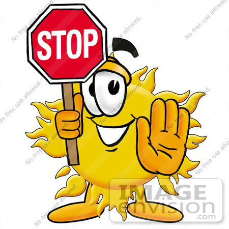 450x450 Clip Art Graphic Of A Yellow Sun Cartoon Character Holding A Stop