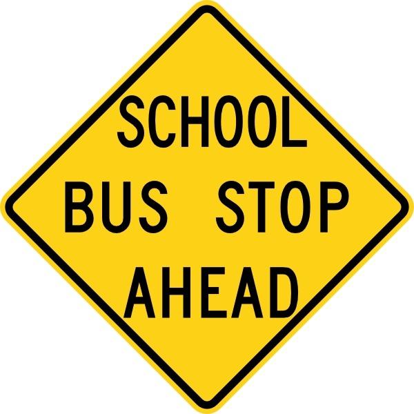 600x600 School Bus Stop Ahead Sign Clip Art Free Vector In Open Office