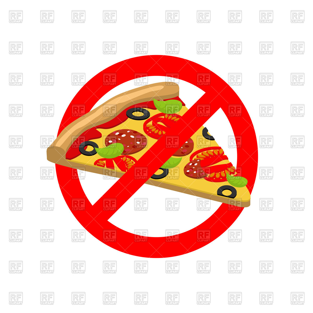 1200x1200 Sign Of Stop With Pizza Slice, Stop Fast Food Royalty Free Vector