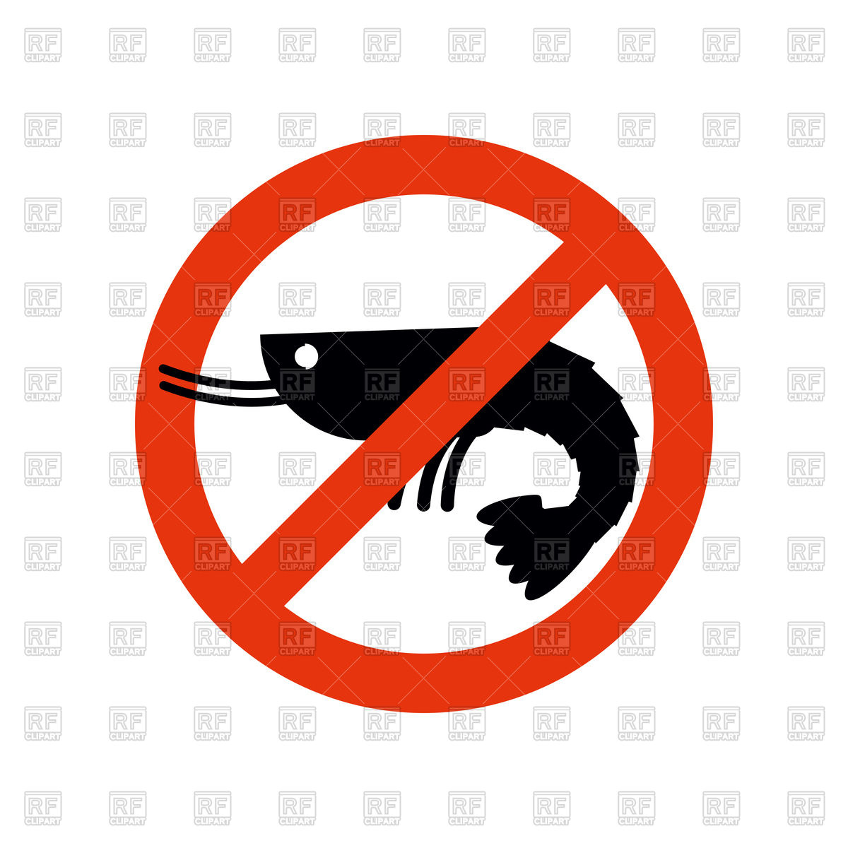 1200x1200 Stop Sign With Silhouette Of Shrimp, Ban Prawn Royalty Free Vector