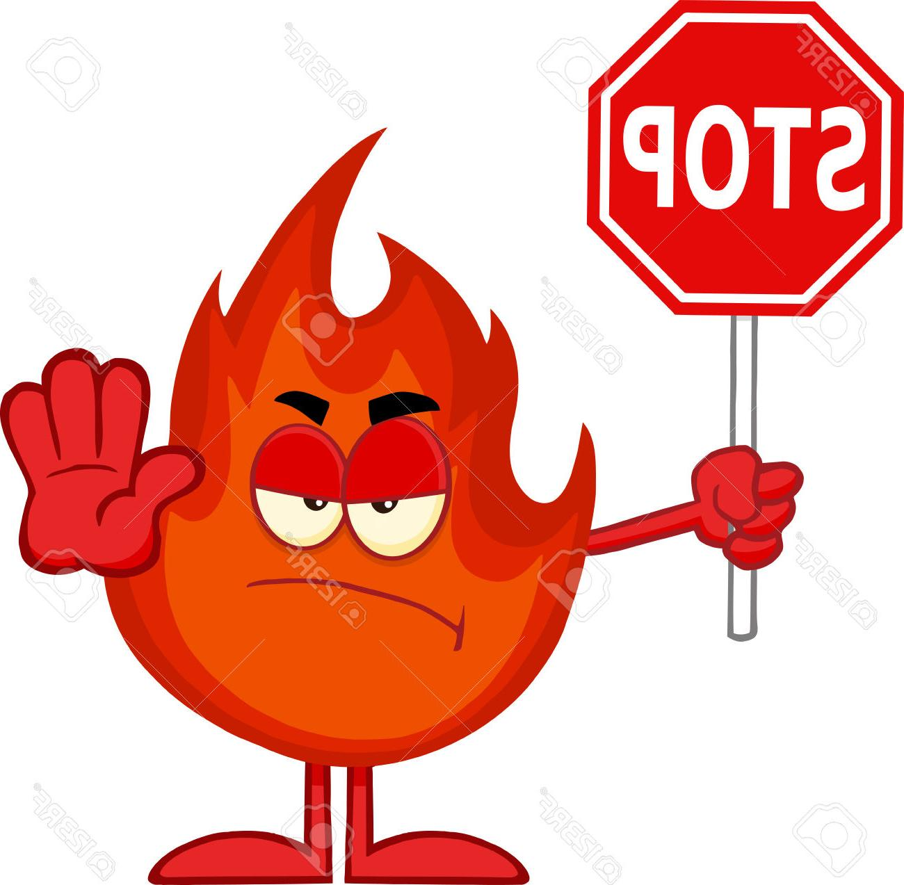 1300x1273 Best Free Angry Fire Cartoon Mascot Character Holding Stop Sign