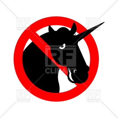 400x400 Stop Unicorn Sign Royalty Free Vector Clip Art Image