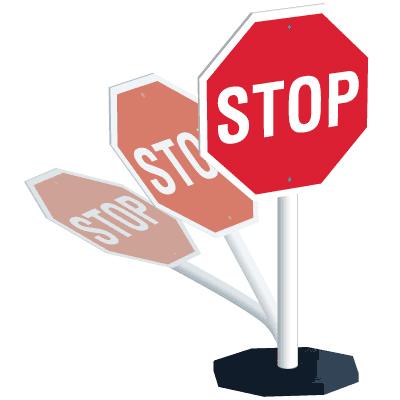 400x400 Flexible Portable Stop Sign System Seton