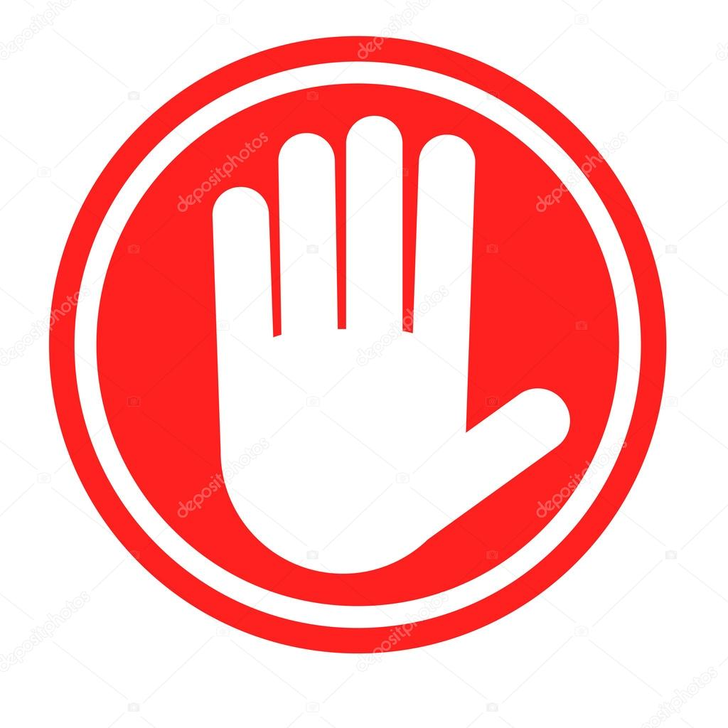 1024x1024 Stop Sign With Human Hand. Warning Sign, Hazardous Sign Stock