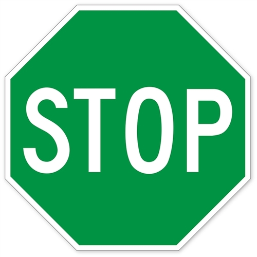 500x500 Green Stop Sign Wall Graphic