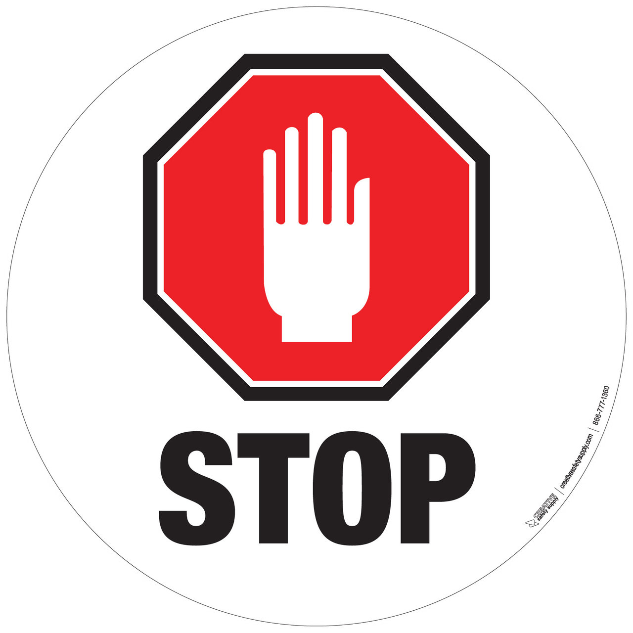 1280x1280 Stop Sign With Hand Floor Signs Creative Safety Supply