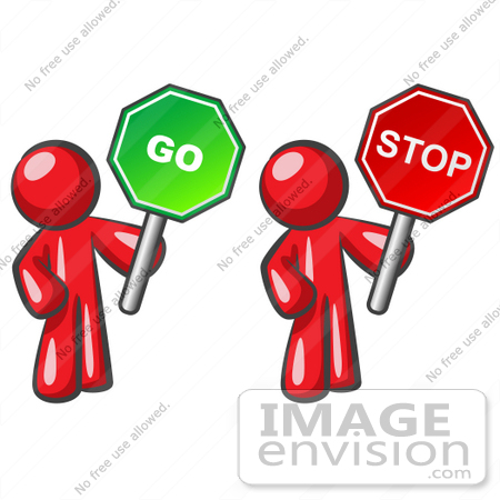 450x450 Clip Art Graphic Of Red Guy Characters Holding Up Go And Stop