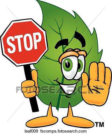 392x470 Clip Art Of Leaf Holding Stop Sign Leaf009