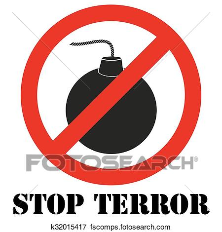 450x470 Clip Art Of Sign With Gun And Symbol Stop Terrorism K32015417