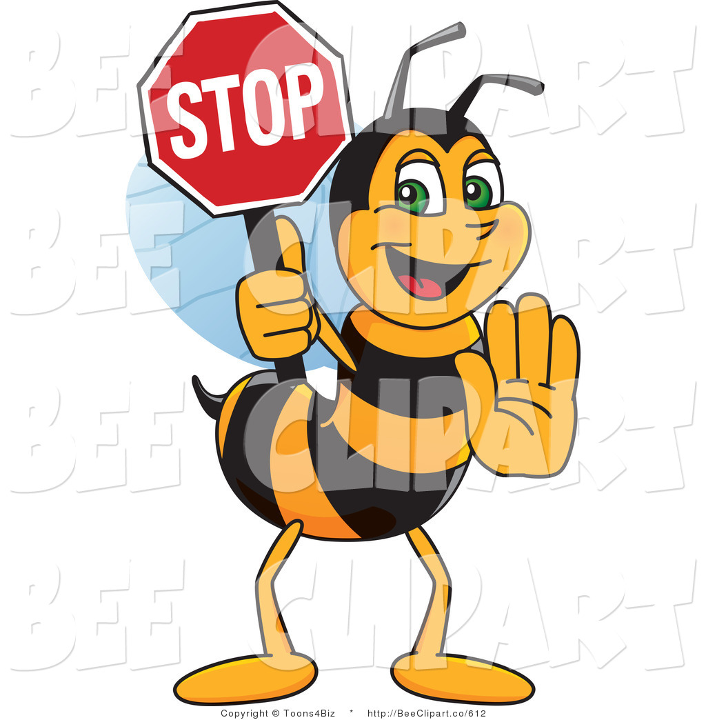 1024x1044 Clip Art Of A Worker Bumble Bee Character Mascot Holding A Stop