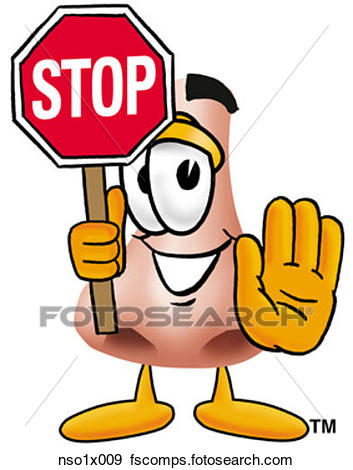 353x470 Clip Art Of Nose Holding Stop Sign Nso1x009