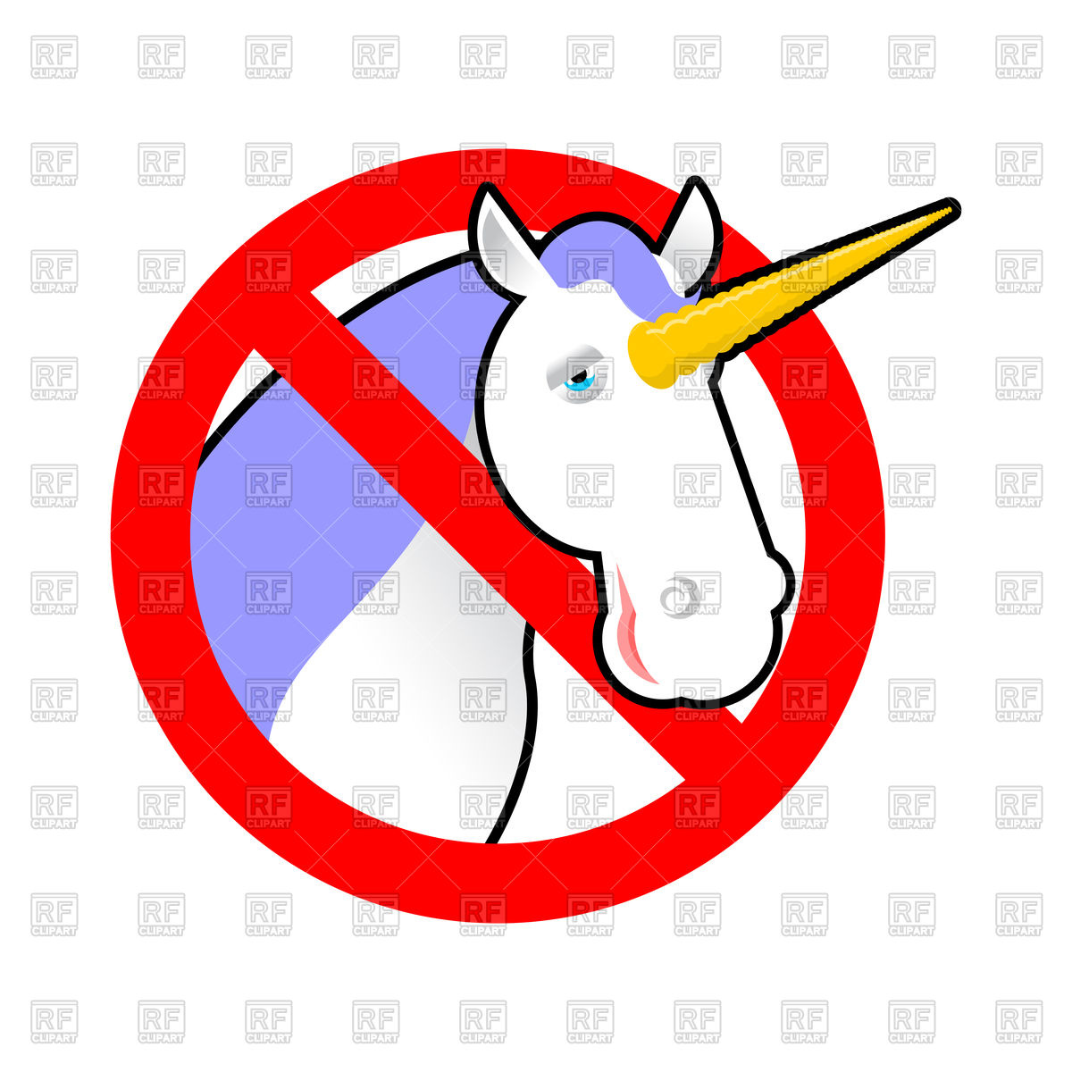 1200x1200 Red Stop Sign With Unicorn, Stop Magical Animal Royalty Free