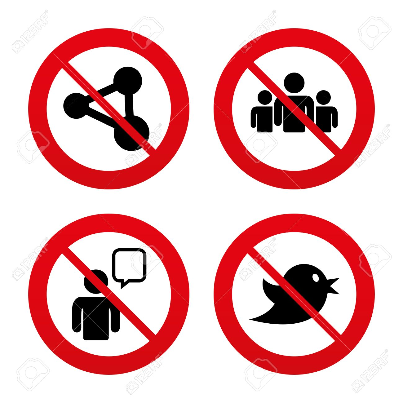 1300x1300 No, Ban Or Stop Signs. Group Of People And Share Icons. Speech