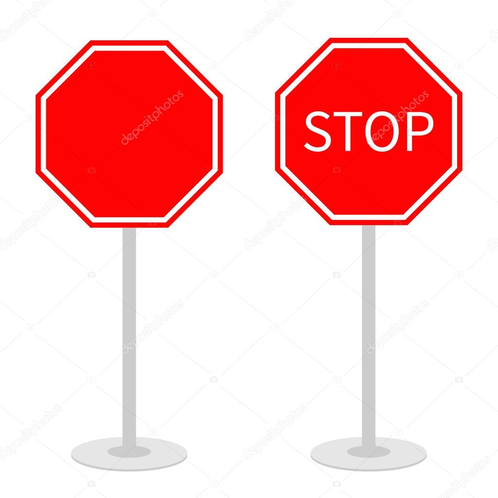 1024x1024 Stop Traffic Warning Road Signs Set With Stand. Stock Vector