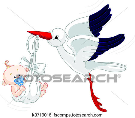 450x396 Clip Art Of Stork And Baby K3719016