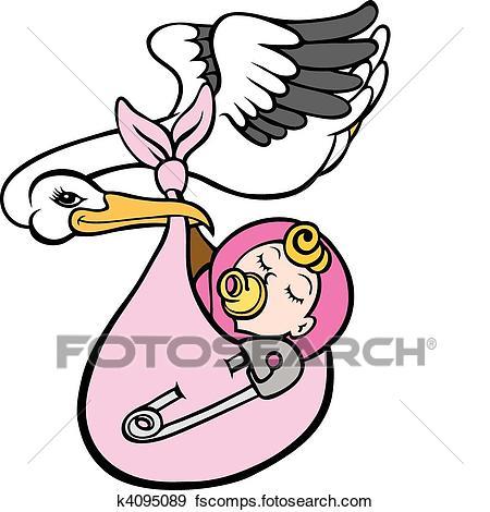 450x470 Clip Art Of Stork Delivering Baby Girl K4095089