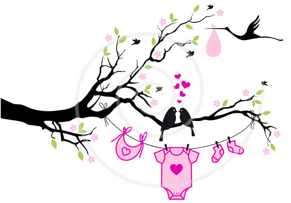 600x420 New Baby Digital Clip Art, Baby Boy, Baby Girl, Cute Birds On Tree