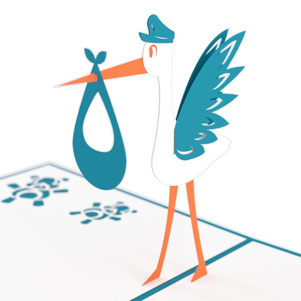 1000x1000 Stork Blue Pop Up New Baby Card