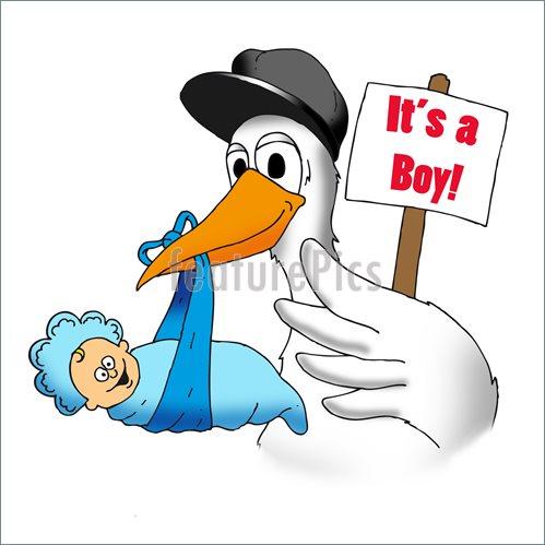499x499 Stork With Baby Boy Illustration
