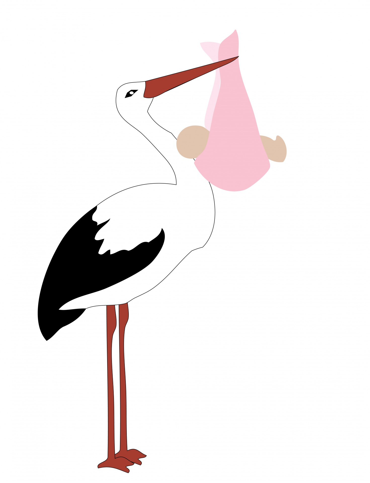 1471x1920 Stork With Baby Girl Free Stock Photo