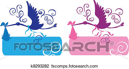 450x242 Clipart Of Stork And Baby K8293282