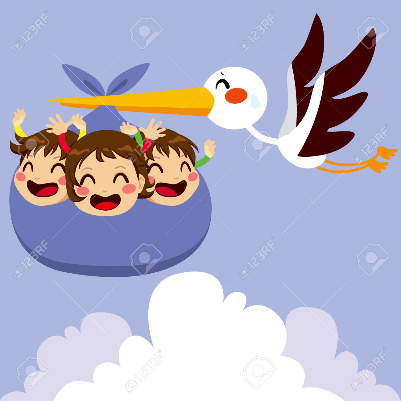 1300x1300 Cute Stork Flying With Three Excited Baby Triplets For Delivery