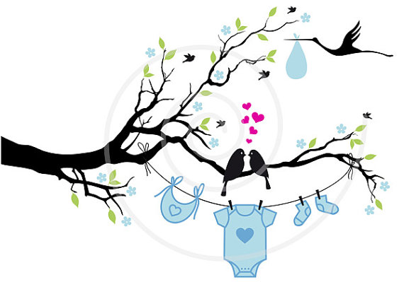 570x399 New Baby Digital Clip Art, Baby Boy, Baby Girl, Cute Birds On Tree