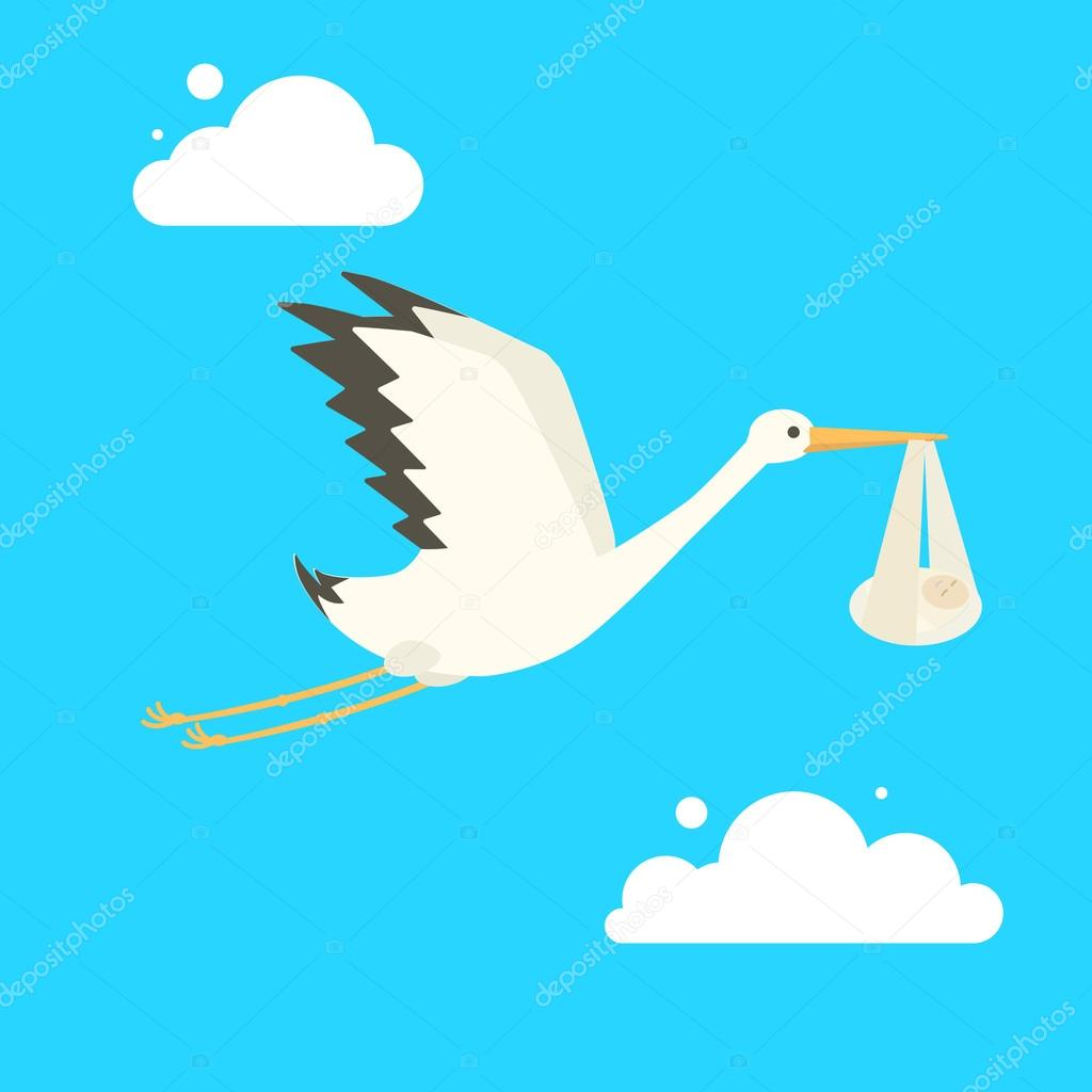 1024x1024 Stork Delivering Baby Cartoon Vector Illustration Stock Vector