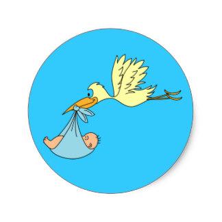 324x324 Blue Stork Baby Shower Stickers Zazzle