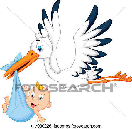 450x439 Clip Art Of Cartoon Stork Carrying Baby K17080226