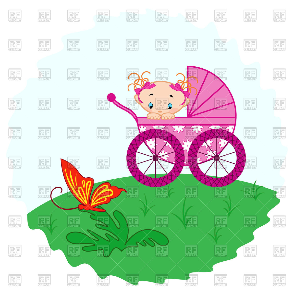 1200x1200 Baby Boy In Pram And Stork Royalty Free Vector Clip Art Image