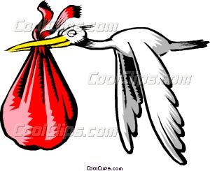 300x245 Cartoon Stork Vector Clip Art