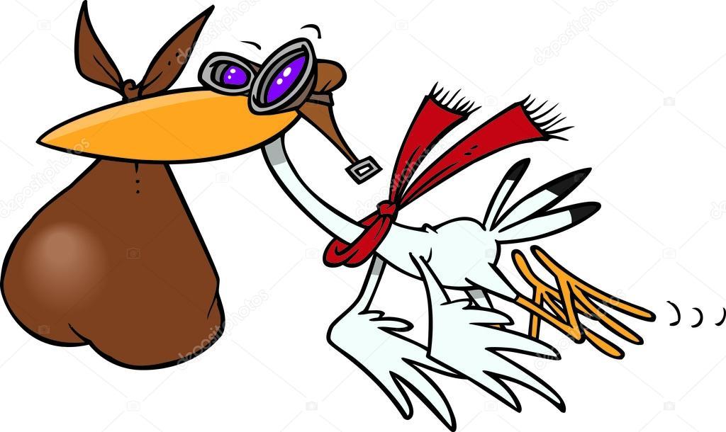 1024x610 Cartoon Stork Delivering Baby Stock Vector Ronleishman