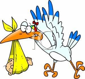 300x277 Cartoon Stork With Baby