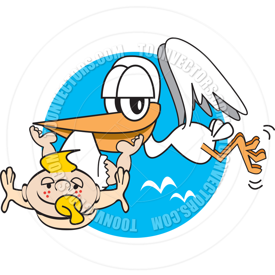 940x940 Cartoon Stork With Baby Vector Illustration By Clip Art Guy Toon