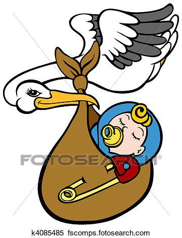 360x470 Clipart Of Stork Delivering Baby K4085485