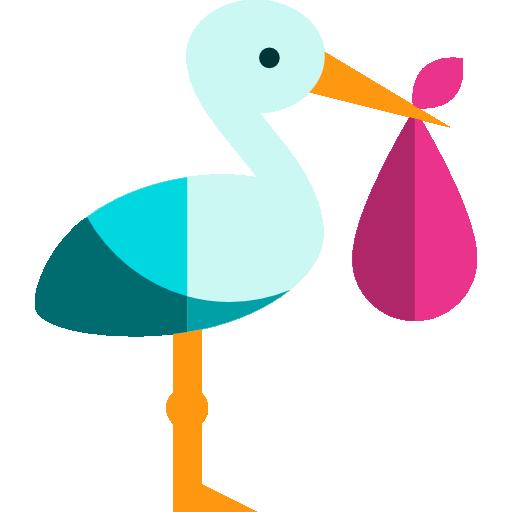512x512 Stork, Newborn, Birth, Kid And Baby, People, Bird, Baby, Animals Icon
