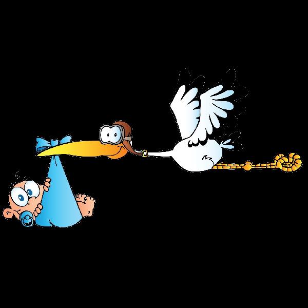 600x600 Stork Carrying Baby Boy Cartoon Clip Art Images