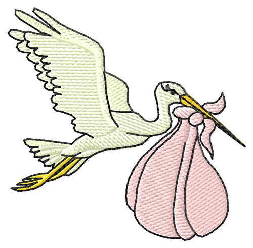 500x491 Animals Embroidery Design Delivery Stork From Grand Slam Designs
