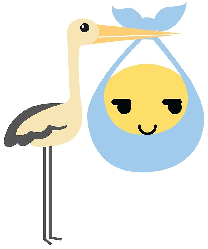 666x800 Stork With Baby Emoticon Emoji Sneaky Face By Teeandmee Redbubble